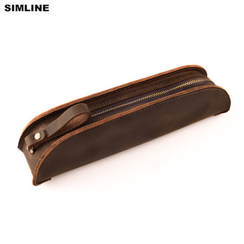 SIMLINE Vintage Handmade Genuine Leather Pen Bag Crazy Horse Cowhide Zipper Men Mens Women Children Long Pencil Bags Case Holder